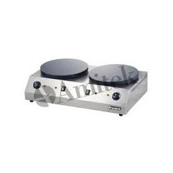 Plita Clatite Crepiera Profesionala Amitek CR350DL cu 2 plite, 3000+3000W, temperatura 0°+300°C, inox