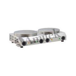 Plita Clatite Crepiera Profesionala Amitek CR400DL cu 2 plite, 3000+3000W, temperatura 0°+300°C, inox