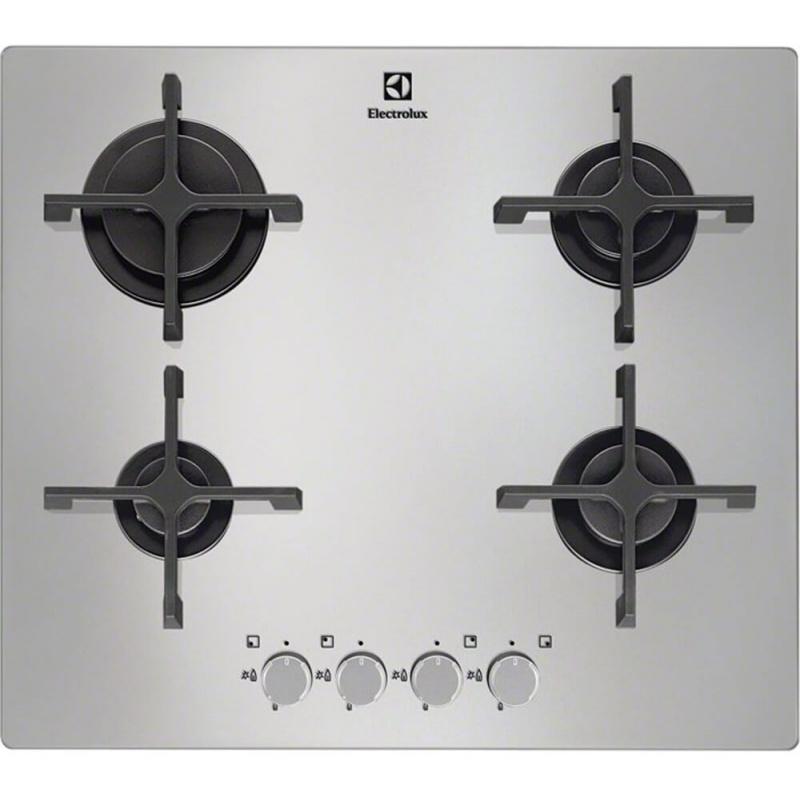 Plita incorporabila Electrolux EGT6342NOX, Gaz, 4 arzatoare, Aprindere electrica, Sticla Alb/Argintie