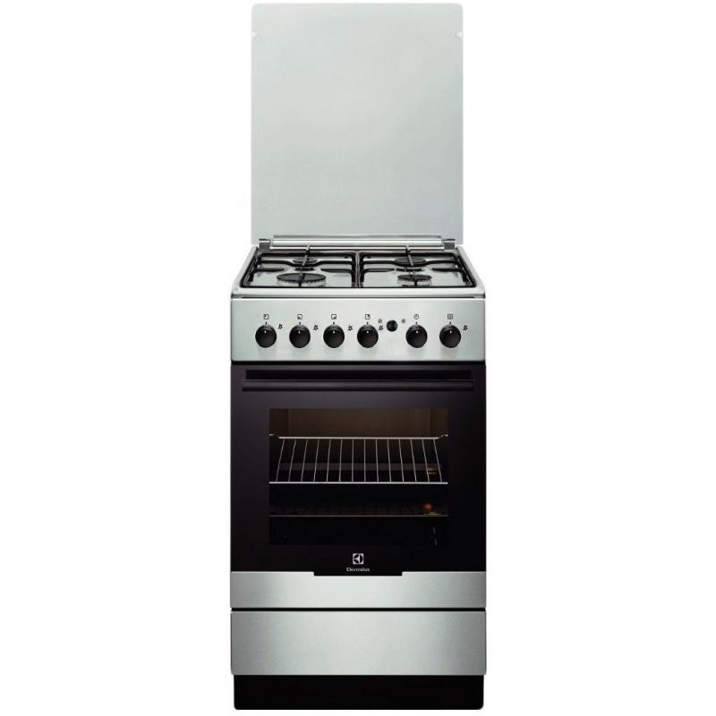 Aragaz Electrolux EKG51154OX, Gaz, 4 Arzatoare, Aprindere integrata plita si cuptor, Grill, Rotisor, 50 cm, Inox