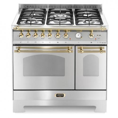 Aragaz Lofra Dolcevita RSD96MFTE/CI, 90x60 cm, gaz, 5 arzatoare, grill, rotisor, aprindere electronica, timer, cuptor dublu,inox