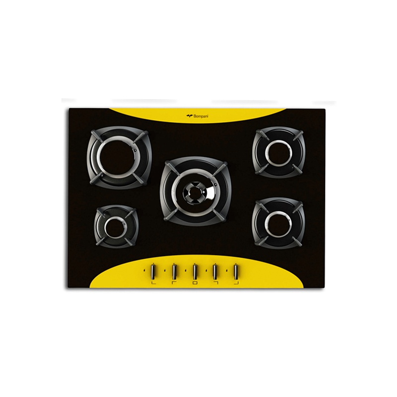 Plita incorporabila Bompani Colorme BO219VD/N, 70 cm, plita gaz, 5 arzatoare,sistem siguranta Stop-Gaz, galben/negru