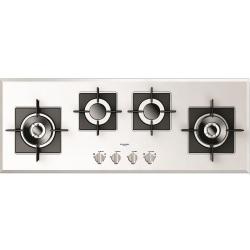 Plita incorporabila Fulgor Milano, FCH 1124 G 2DWK WH, 112 cm, 4 arzatoare, protectie gaz, butoane otel, sticla alba