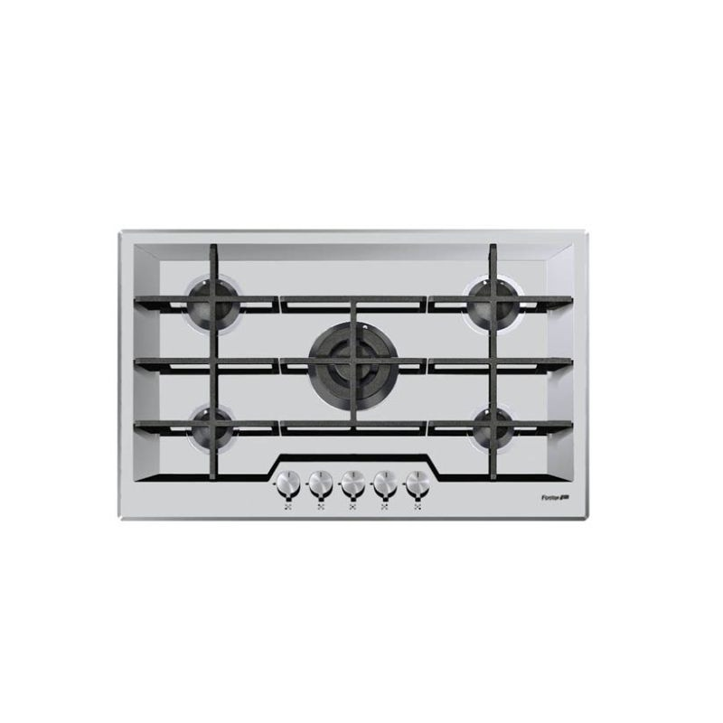 Plita incorporabila Foster KE Black 7600632, instalare SF, gaz, 80.3cm , 5 arzatoare, aprindere electrica, siguranta gaz, inox