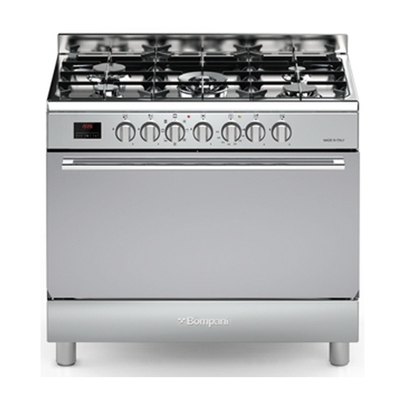Aragaz Bompani Diva BO683MA/N, 90x60 cm, plita gaz, 5 arzatoare, aprindere electronica, grill, inox