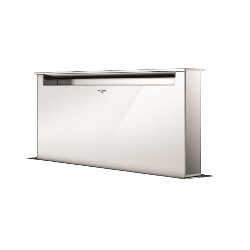 Hota aplicata Fulgor Milano LHDD 9010 RC WH, 90 cm, sistem Downdraft,telecomanda, sticla alba