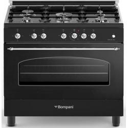 Aragaz Bompani Belle Epoque BO697VA/N 90x60 cm plita gaz 5 arzatoare aprindere electronica grill negru mat