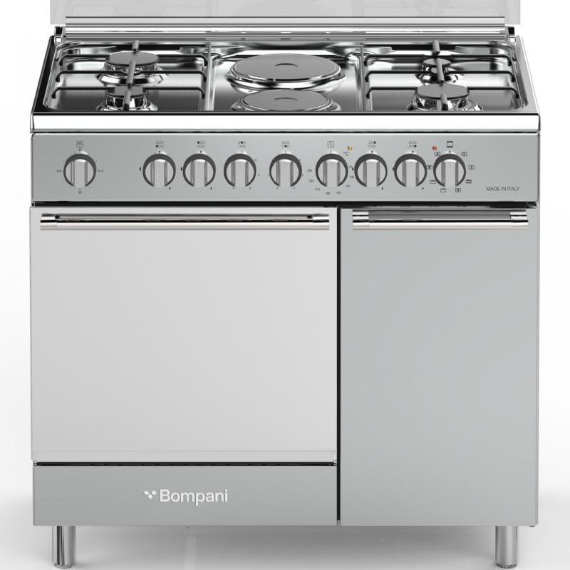 Aragaz Bompani Diva BO943CD/L, 90x60 cm, plita gaz + electric, 6 arzatoare, aprindere electronica, grill, inox