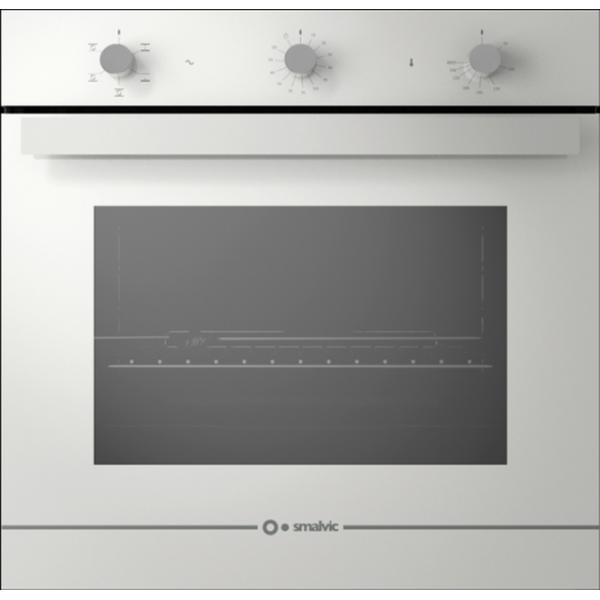 Cuptor gaz incorporabil Smalvic GLASS BIANCO FI-74GEVTC, 60cm, 74l, grill electric, alb