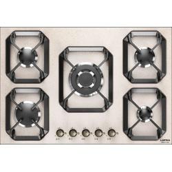 Plita incorporabila Lofra Dolcevita HRA7A0/GA, 75 cm, plita gaz, 5 arzatoare,sistem siguranta Stop-Gaz,butoane bronz, avena