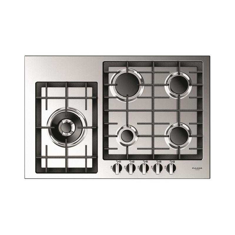 Plita incorporabila Fulgor Milano, QH 765 G WK X, 76 cm, plita gaz, 5 arzatoare, sistem Stop-Gaz, butoane otel, sticla inox