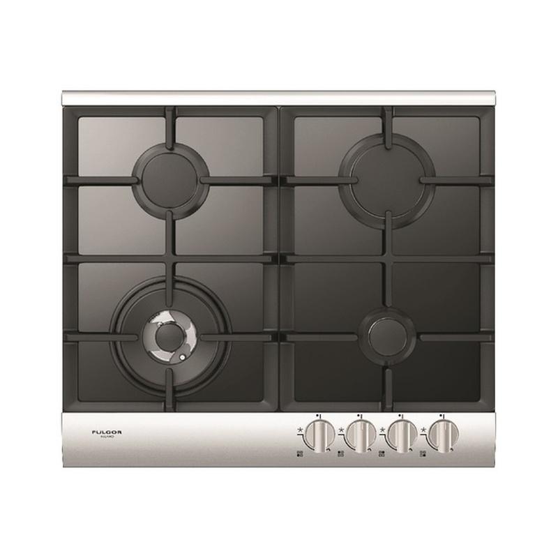 Plita incorporabila Fulgor Milano, QLH 604 G WK BK X, 60 cm, plita gaz, 4 arzatoare,sistem Stop-Gaz, butoane otel, sticla neagra