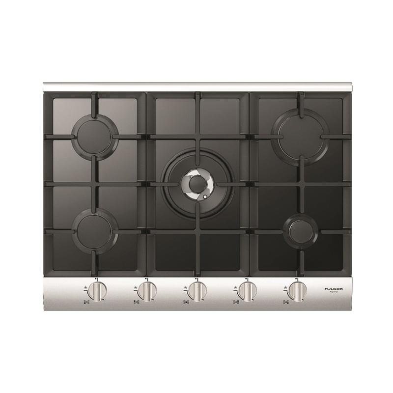 Plita incorporabila Fulgor Milano, QLH 705 G WK BK X, 70 cm, plita gaz, 5 arzatoare,sistem Stop-Gaz, butoane otel, sticla neagra
