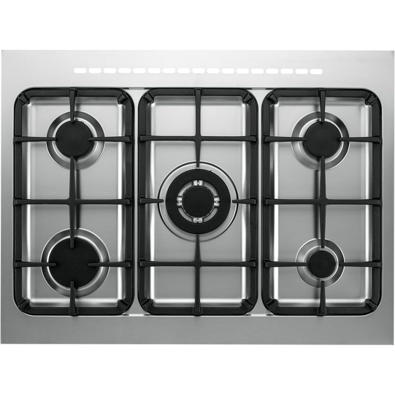 Aragaz Tecnogas PRO PT767XS, 70x60 cm, gaz, 5 arzatoare, aprindere electronica, grill, otel inoxidabil