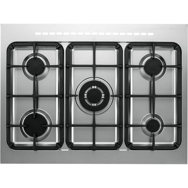Aragaz Tecnogas PRO PTV762XS, 70x60 cm, gaz, 5 arzatoare, aprindere electronica, grill, otel inoxidabil