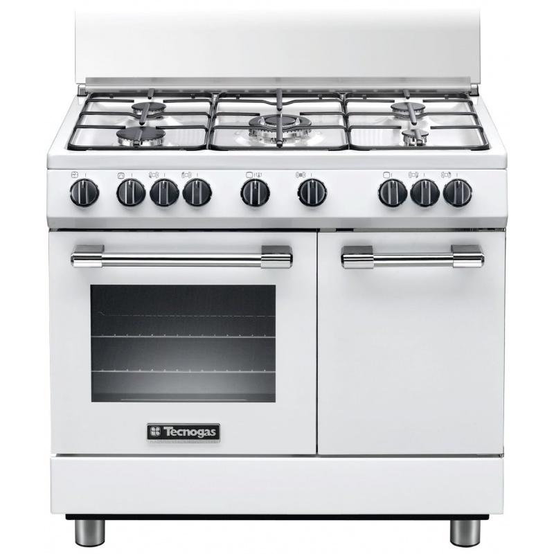 Aragaz Tecnogas PRO PB965GVW, 90x60 cm, gaz, 5 arzatoare, aprindere electronica, grill,cuptor gaz, alb