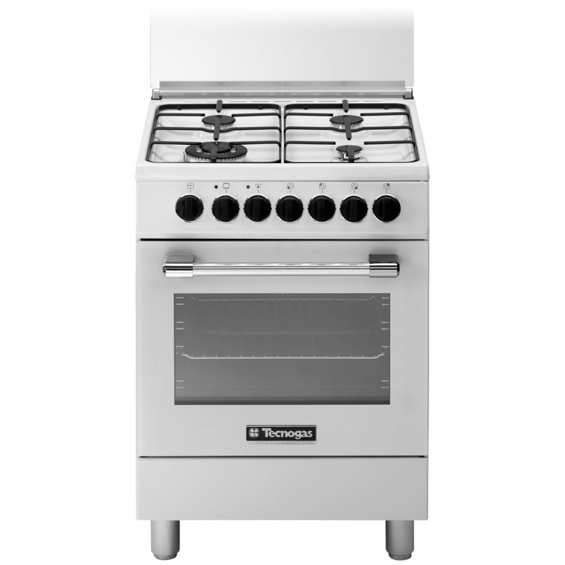 Aragaz Tecnogas PRO P664GVW, 60x60 cm, gaz, 4 arzatoare, aprindere electronica, grill, cuptor gaz, alb