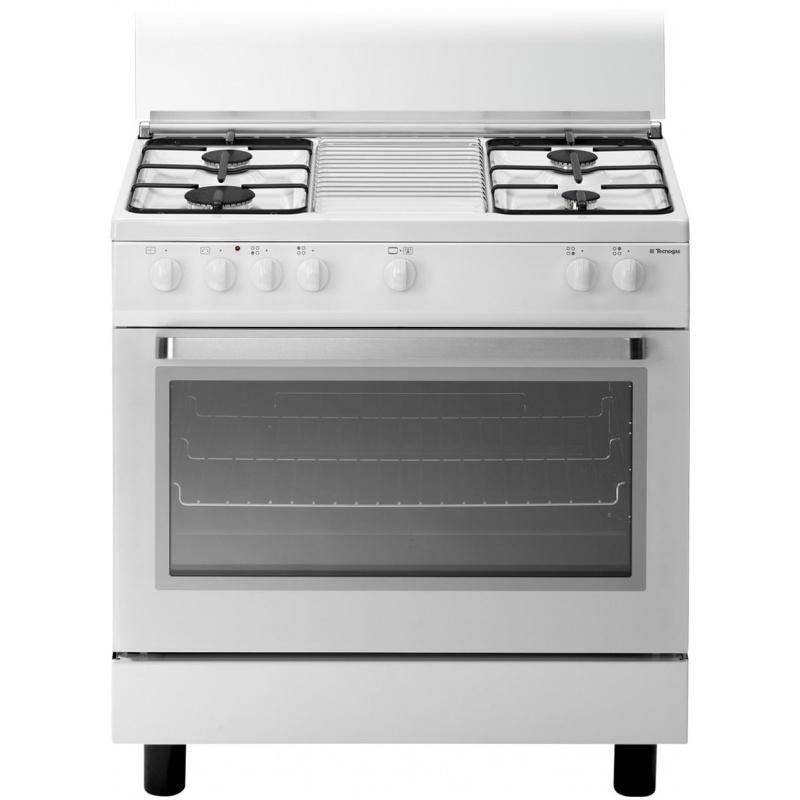 Aragaz Tecnogas ARKE D808WS, 80x50 cm, gaz, 4 arzatoare, cuptor gaz, aprindere electronica, grill, alb