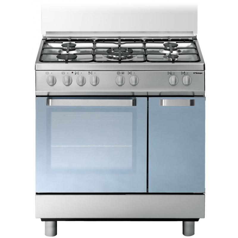 Aragaz Tecnogas ARKE D827XS, 80x50 cm, gaz, 5 arzatoare, aprindere electronica, grill, inox