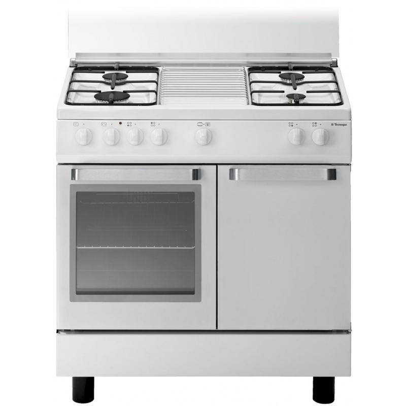 Aragaz Tecnogas ARKE D832WS, 80x50 cm, gaz, 4 arzatoare, aprindere electronica, grill, cuptor gaz, alb