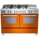 Aragaz Bertazzoni Profesional PRO1206GMFEDART, 120x60 cm, gaz, 6 arzatoare, zona Teppan-Yaki, 2 cuptoare electrice, portocaliu