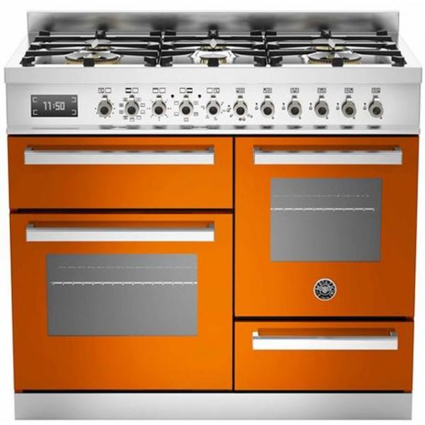 Aragaz Bertazzoni Profesional PRO1006MFETGIT, 100x60 cm, gaz, 6 arzatoare, 3 cuptoare electrice, galben