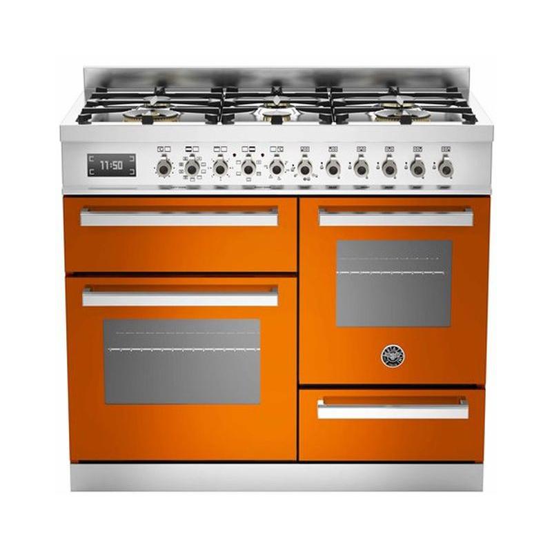 Aragaz Bertazzoni Profesional PRO1006MFETART, 100x60 cm, gaz, 6 arzatoare, 3 cuptoare electrice, portocaliu
