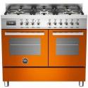 Aragaz Bertazzoni Profesional PRO1006MFEDART, 100x60 cm, gaz, 6 arzatoare, 2 cuptoare electrice, portocaliu