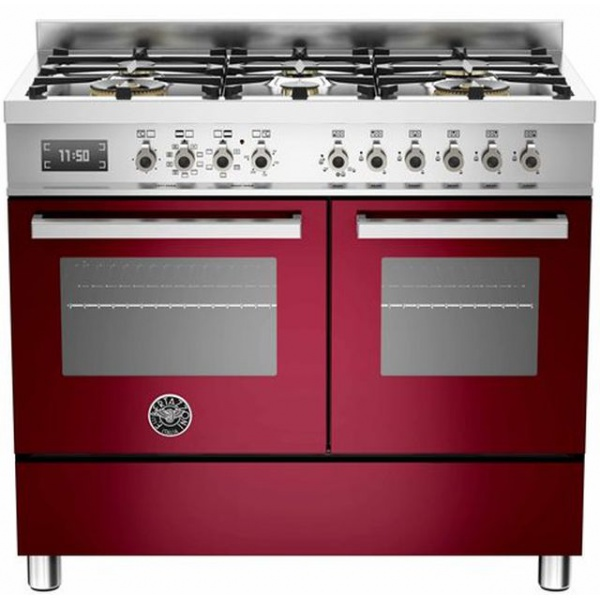 Aragaz Bertazzoni Profesional PRO1006MFEDROT, 100x60 cm, gaz, 6 arzatoare, 2 cuptoare electrice, rosu