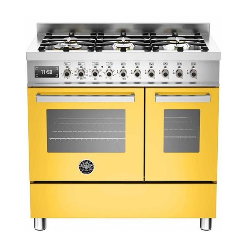 Aragaz Bertazzoni Profesional PRO906MFEDGIT, 90x60 cm, gaz, 6 arzatoare, 2 cuptoare electrice, galben