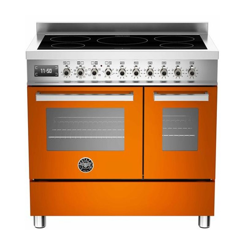 Aragaz Bertazzoni Profesional PRO905IMFEDART, 90x60 cm, inductie, 5 zone gatit, 2 cuptoare electrice, portocaliu