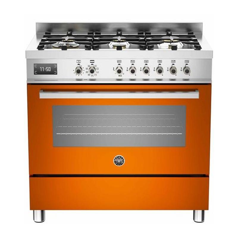 Aragaz Bertazzoni Profesional PRO906MFESART, 90x60 cm, gaz, 6 arzatoare, cuptor electric, portocaliu