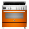 Aragaz Bertazzoni Profesional PRO905IMFESART, 90x60 cm, inductie, 5 zone gatit, cuptor electric, portocaliu