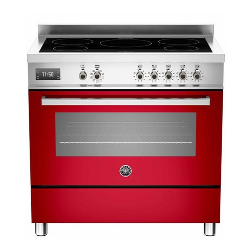Aragaz Bertazzoni Profesional PRO905IMFESROT, 90x60 cm, inductie, 5 zone gatit, cuptor electric, rosu