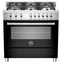 Aragaz Bertazzoni Profesional PRO906HYBSNET, 90x60 cm, gaz, 6 arzatoare, cuptor hibrid multifunctional, negru