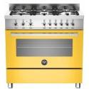 Aragaz Bertazzoni Profesional PRO906HYBSGIT, 90x60 cm, gaz, 6 arzatoare, cuptor hibrid multifunctional, galben