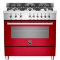 Aragaz Bertazzoni Profesional PRO906HYBSROT, 90x60 cm, gaz, 6 arzatoare, cuptor hibrid multifunctional, rosu