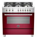 Aragaz Bertazzoni Profesional PRO906HYBSVIT, 90x60 cm, gaz, 6 arzatoare, cuptor hibrid multifunctional, visiniu