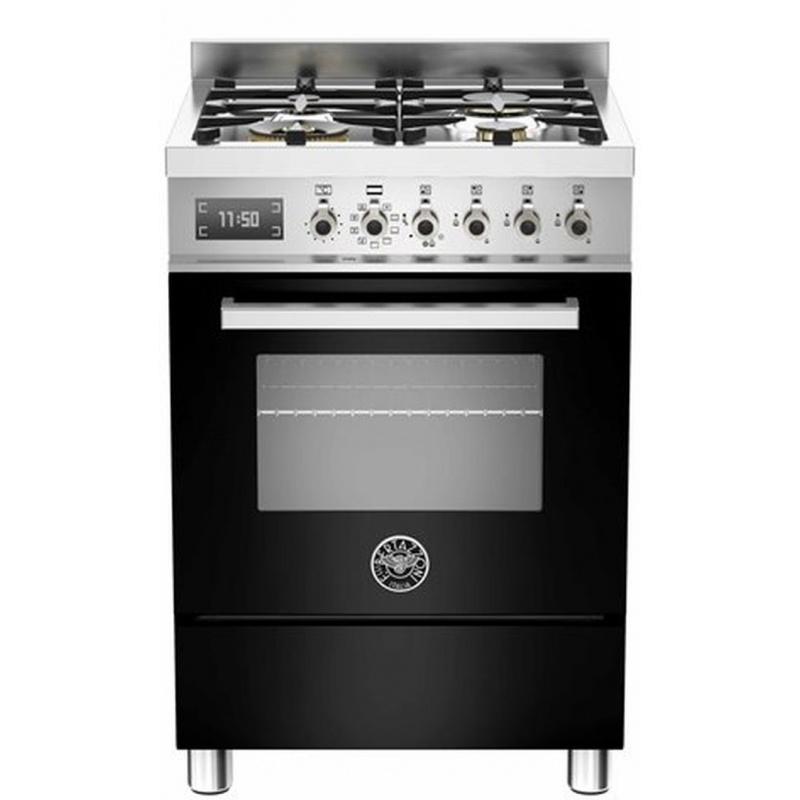 Aragaz Bertazzoni Profesional PRO604MFESNET, 60x60 cm, gaz, 4 arzatoare, cuptor electric multifunctional, negru