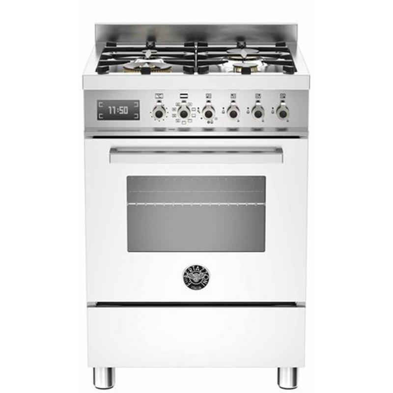 Aragaz Bertazzoni Profesional PRO604MFESBIT, 60x60 cm, gaz, 4 arzatoare, cuptor electric multifunctional, alb