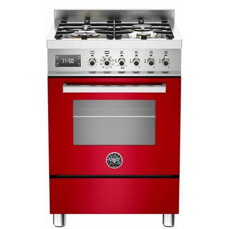 Aragaz Bertazzoni Profesional PRO604MFESROT, 60x60 cm, gaz, 4 arzatoare, cuptor electric multifunctional, rosu