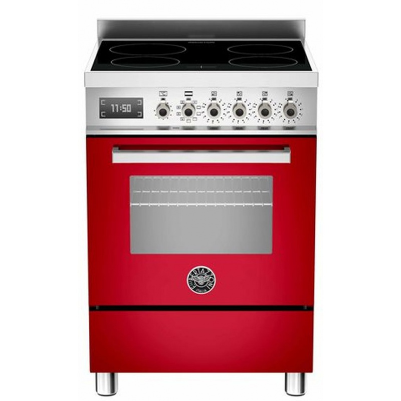 Aragaz Bertazzoni Profesional PRO604IMFESROT, 60x60 cm, inductie, 4 zone gatit, cuptor electric multifunctional, rosu
