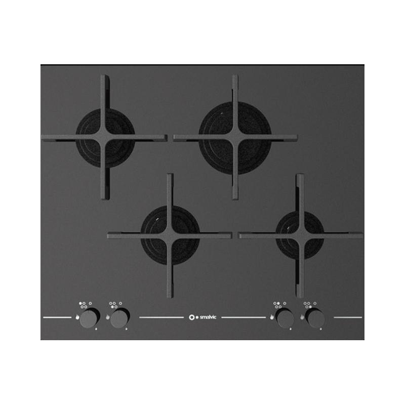 Plita incorporabila Smalvic GLASS PC-MF60 4G VS, 60 cm, plita gaz, 4 arzatoare, sistem siguranta Stop-Gaz, sticla neagra