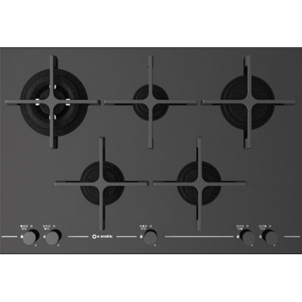 Plita incorporabila Smalvic GLASS PC-MF75 4GTC VS, 75 cm, plita gaz, 5 arzatoare, sistem siguranta Stop-Gaz, sticla alba