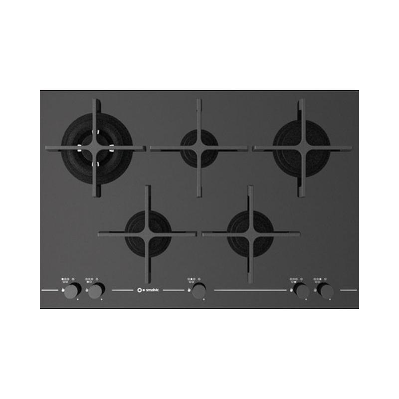 Plita incorporabila Smalvic GLASS PC-MF75 4GTC VS, 75 cm, plita gaz, 5 arzatoare, sistem siguranta Stop-Gaz, sticla neagra