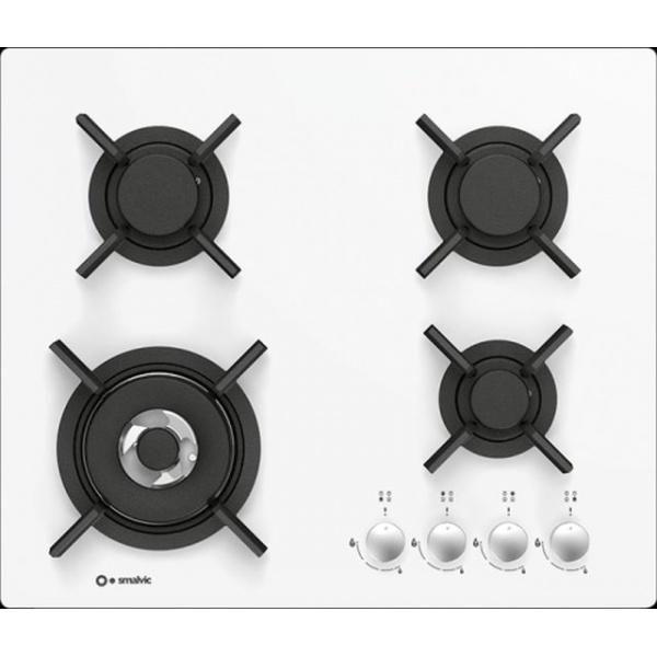 Plita incorporabila Smalvic FLAT PC-MF60 4G VS, 60 cm, plita gaz, 4 arzatoare, sistem siguranta Stop-Gaz, sticla alba