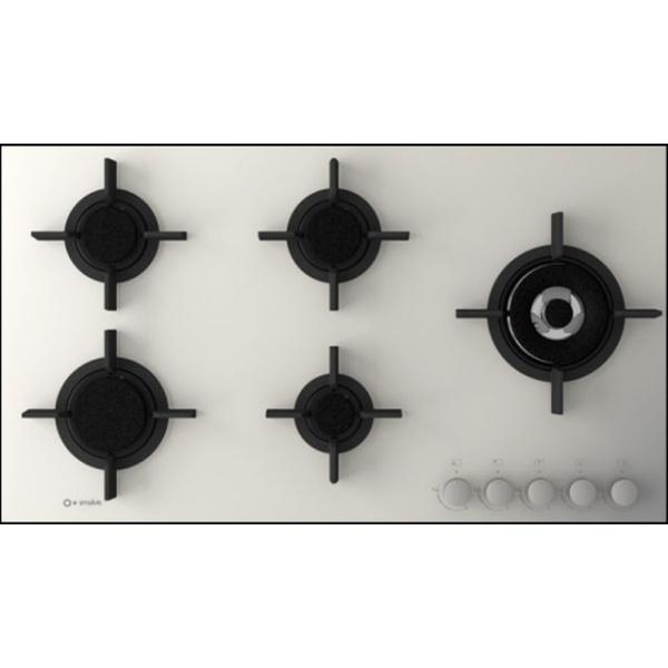 Plita incorporabila Smalvic FLAT PC-MF70 4GTC VS, 70 cm, plita gaz, 5 arzatoare, sistem siguranta Stop-Gaz, sticla alba