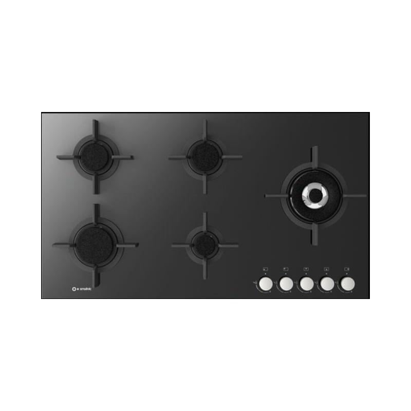 Plita incorporabila Smalvic FLAT PC-MF90 4GTC VS, 90 cm, plita gaz, 5 arzatoare, sistem siguranta Stop-Gaz, sticla neagra