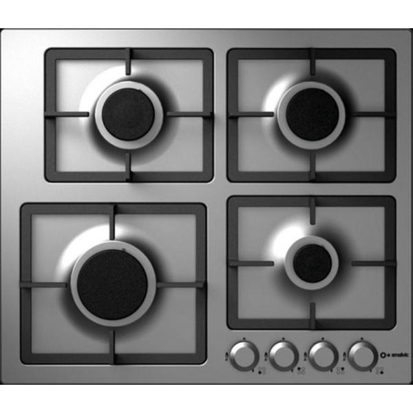 Plita incorporabila Smalvic FLAT PC-MF60 3GTC VS, 60 cm, plita gaz, 4 arzatoare, sistem siguranta Stop-Gaz, sticla alba
