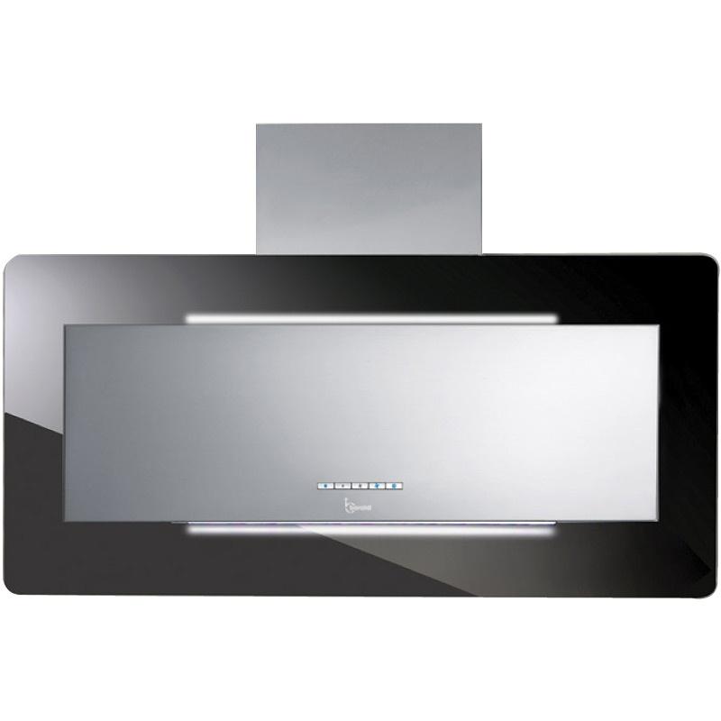 Hota design Baraldi Trisia 01TRS090STB80, 90 cm, 800 m3/h, inox/sticla neagra